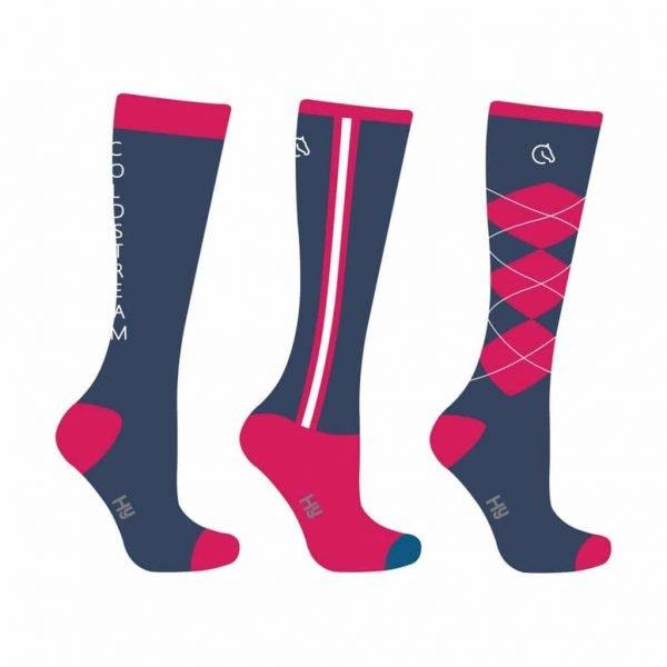 Colstream Cornhill Socks - Long, Navy and Raspberry