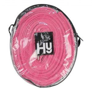 Pink Lunge Line rolled up in plastic carry case