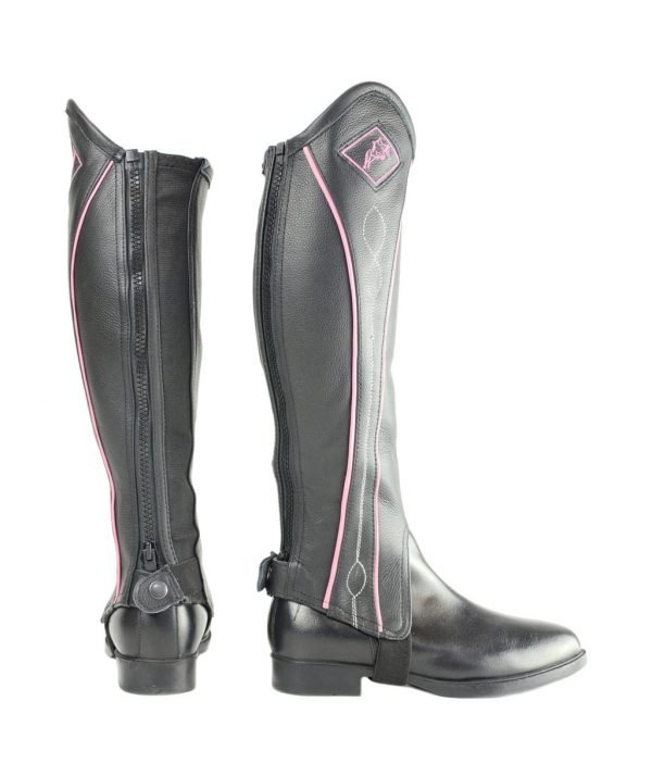 Hy Two Tone Leather Gaiters - Black and Pink Hy