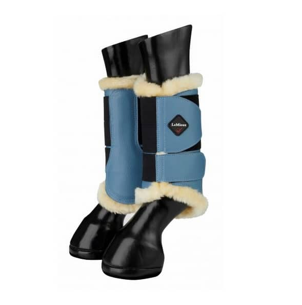 LeMieux Fleece Brushing Boots - Ice Blue/Natural LeMieux