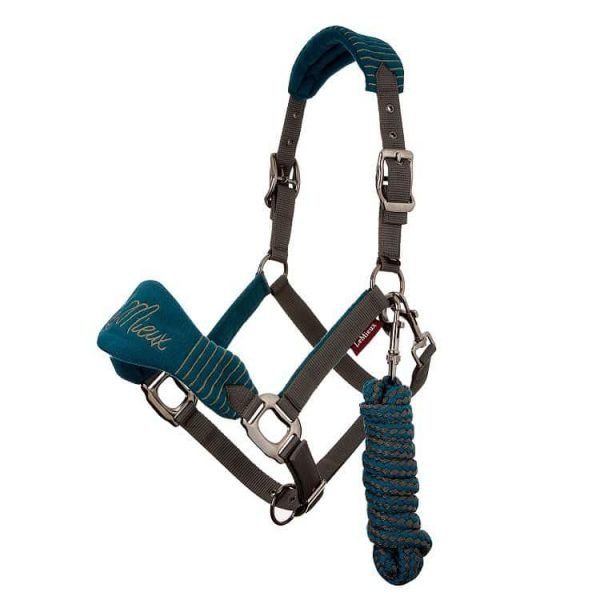 LeMieux Vogue Fleece Headcollar with Leadrope - Peacock/Grey LeMieux